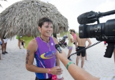 Special to the Daily News/Jason EasterlyHeather Butcher of North Port is interviewed after winning the women's leg of the 26th Annual Fitness Challenge Triathlon held at the Naples Beach Hotel and Golf Club on Sunday morning. Participants in the event ran 3.1 miles, biked 9.3 mile and swam 1/4 mile in the Gulf of Mexico.